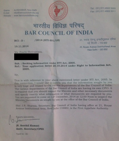 BCI's invitation to inspect all requested documents