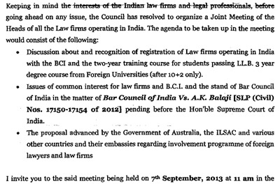 Invite from BCI chairman Mishra to meet Silf dated 30 August 2013