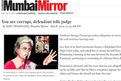 Mirror Mirror 8 May, reporting court proceedings with coloured 'caricature' of judge