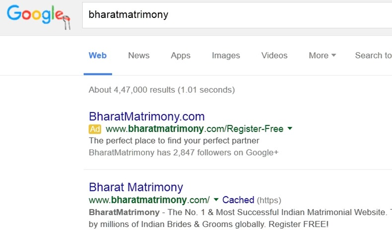 BharatMatrimony: Now the only one with ads against its trademark (as well as number 1 organic rank)
