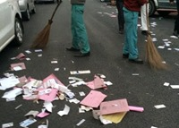 SCBA election clean up Photo by @ElectionWitness