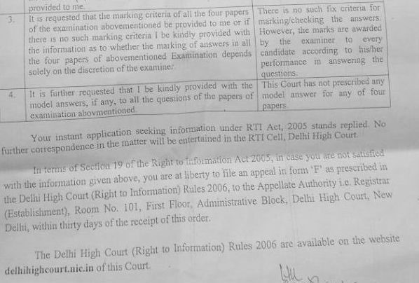 RTI response by Delhi high court: No model answers exist