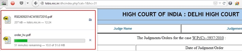 Highlighted: Downloads of judgment from IIPM website (top) and from Delhi high court website (bottom)