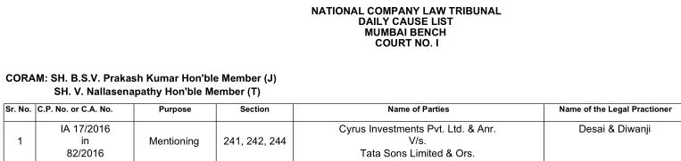 Today's NCLT causelist