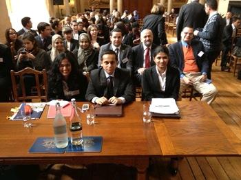 NLU D preps for finals: Divya Srinivasan, Harshad Pathak & Medha Vikram (l. to r.) (source Oxford Media Moot)
