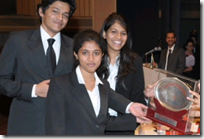 The Nalsar team (from L-R - Devdeep, Malavika & Charitha) receiving the award from Justic9 Gyansudha Misra (click to enlarge)
