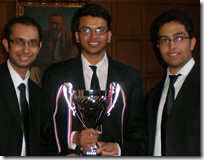 #Winning Nalsar team, l. to r.: Dhruv Bhattacharya (Left), Sourav Roy, Kunal Singh