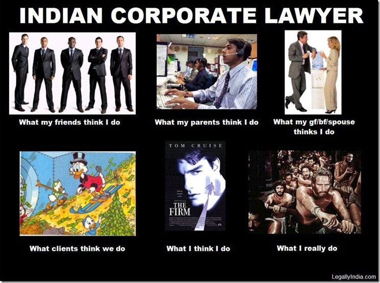 Indian Corporate Lawyer: What people think I do and what I really do