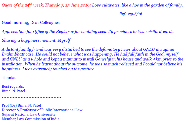 Good Morning All Email : Gnlu s bimal patel emails staff with inspiring tale of