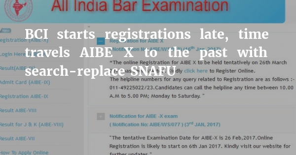 As predicted, BCI postpones AIBE by a month • Registration