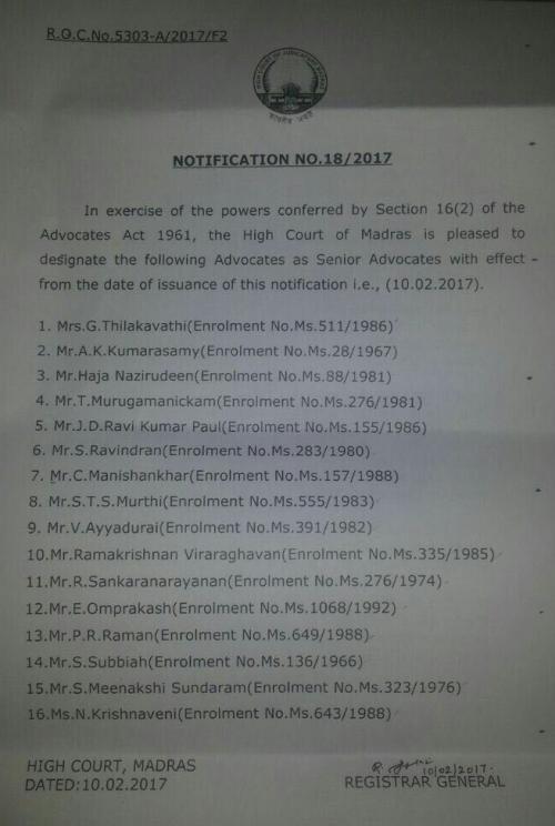 Madras high court designates 16 to senior