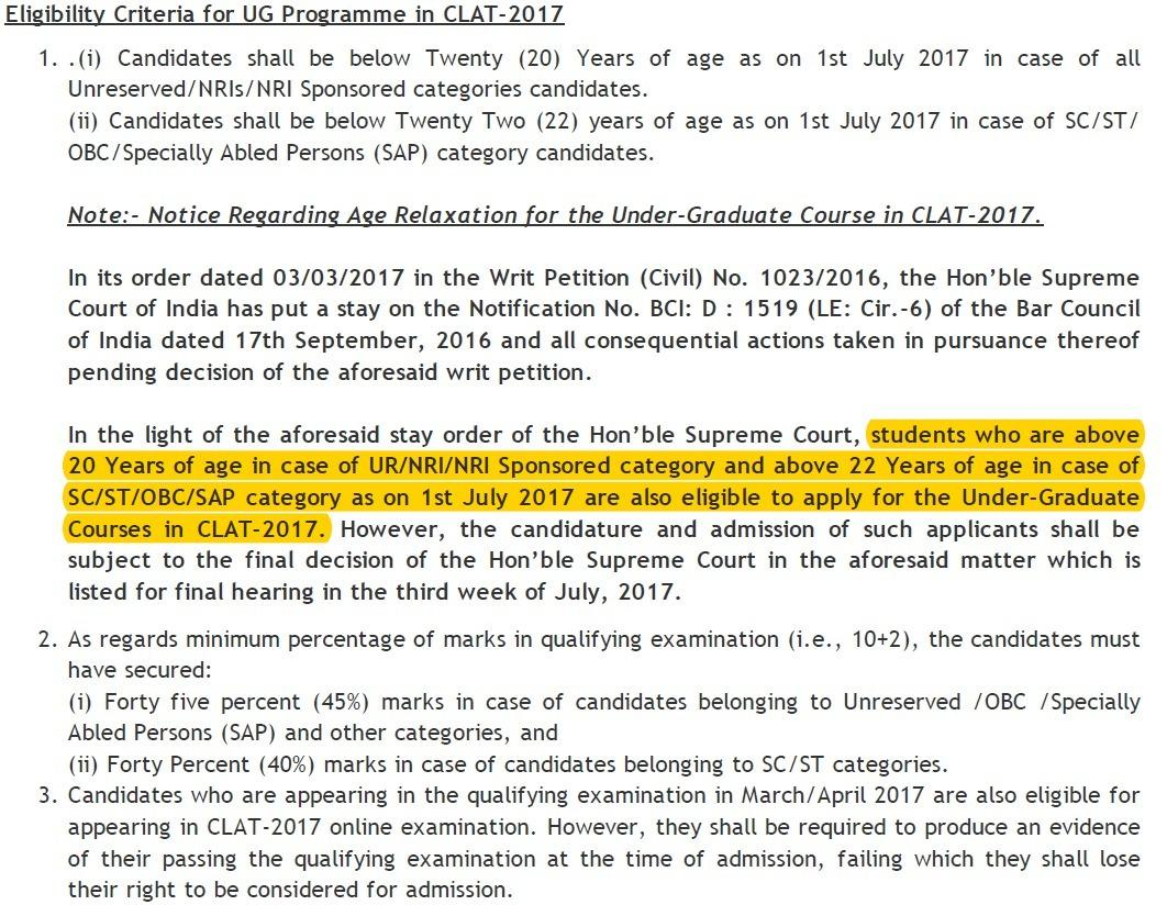 CLAT notifies new non-age limit CLAT