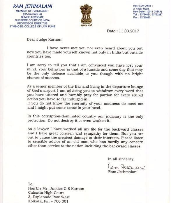 Ram Jethmalani's questionably-phrased letter </of>