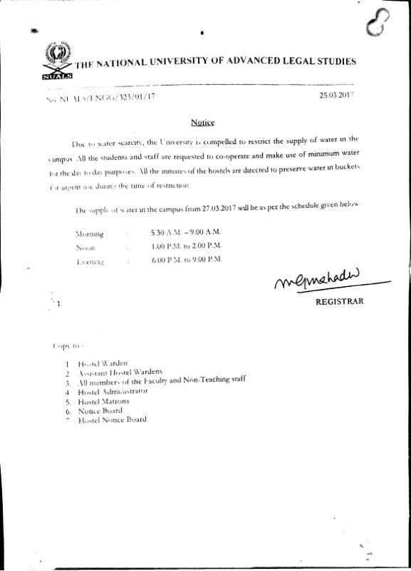 Nuals notification: Water scarcity