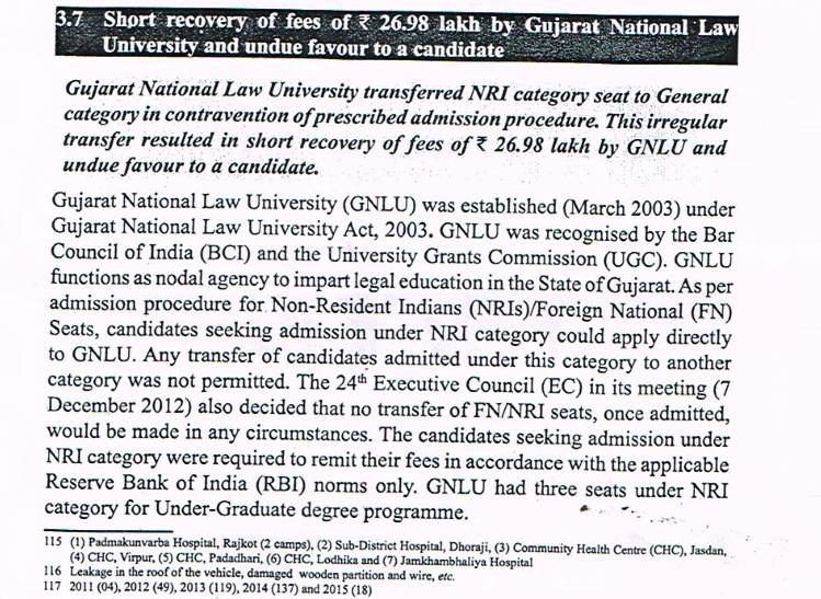 GNLU waives Rs 27 lakh in fee collections, unduly favours NRI student: CAG