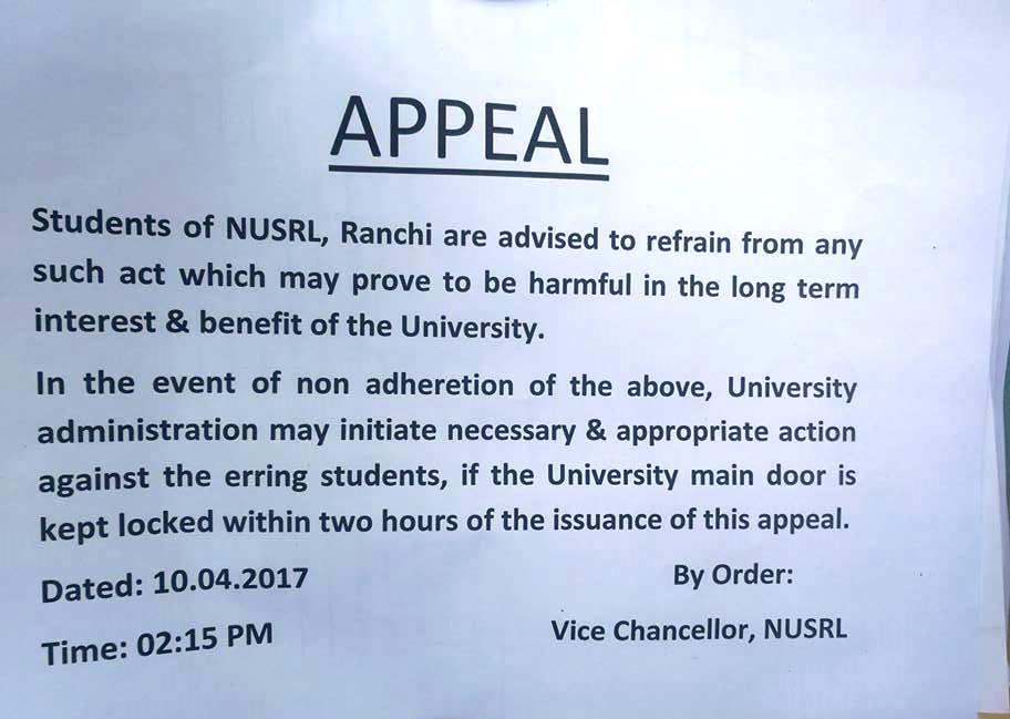 More than 24 hours after this ultimatum, the locks on NUSRL main gate stay, VC and faculty wait outside