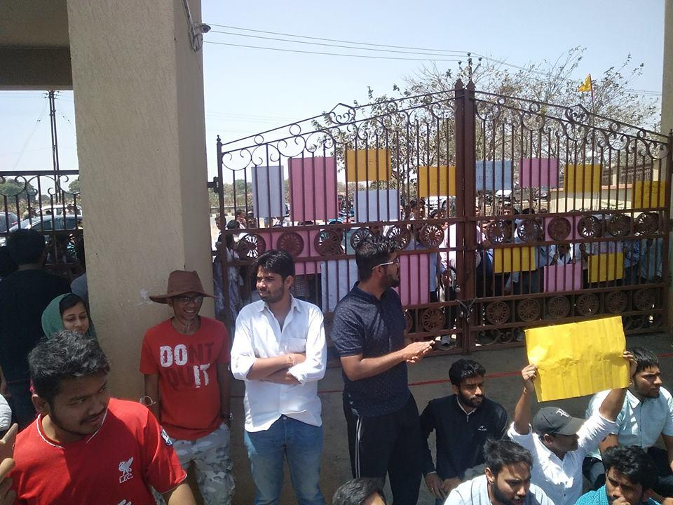 Students at the gates, in well-organised protests