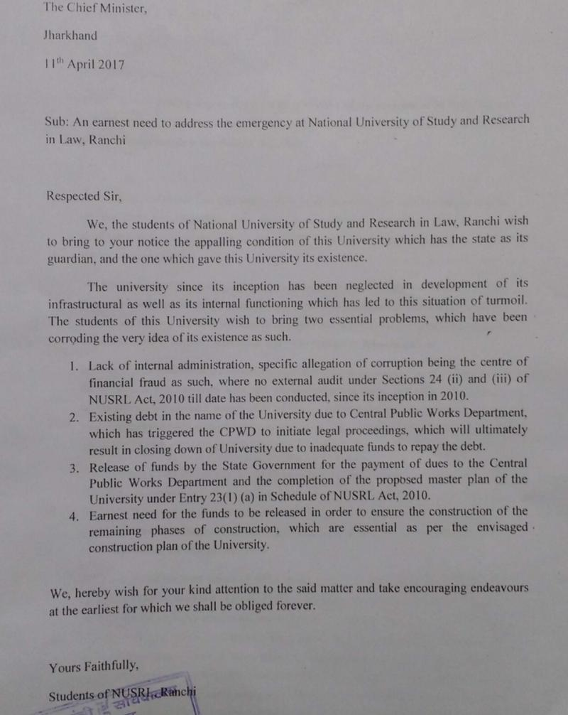 Students' letter to Jharkhand CM
