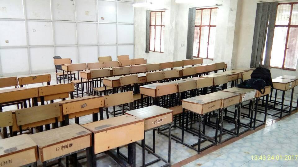 This is a DU classroom intended for 96 students