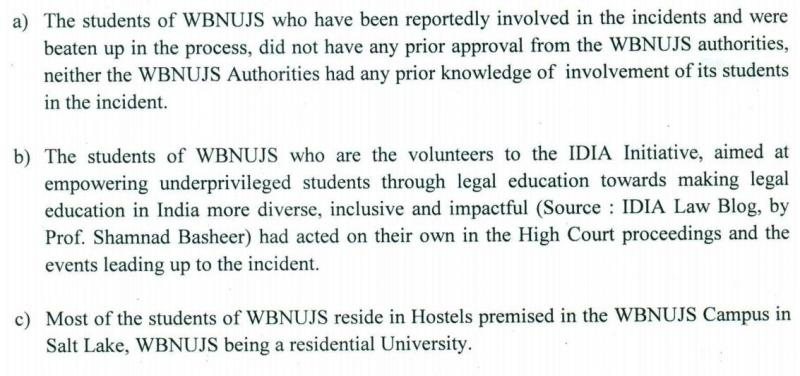 NUJS admin stresses, in so many words: We had nothing to do with students going out and fighting for human rights