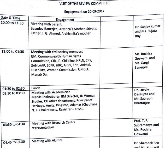 The commission's schedule