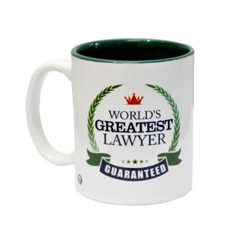 </p><p>This mug is perfect to place on the desk as the green interiors match the legal green color of the books.