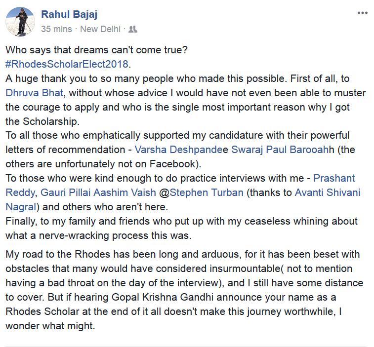 Rahul Bajaj, lawyer who was born blind, wins Rhodes alongside GNLUite