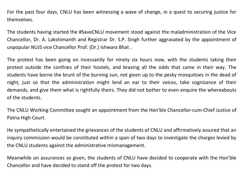 Press statement from protesting students