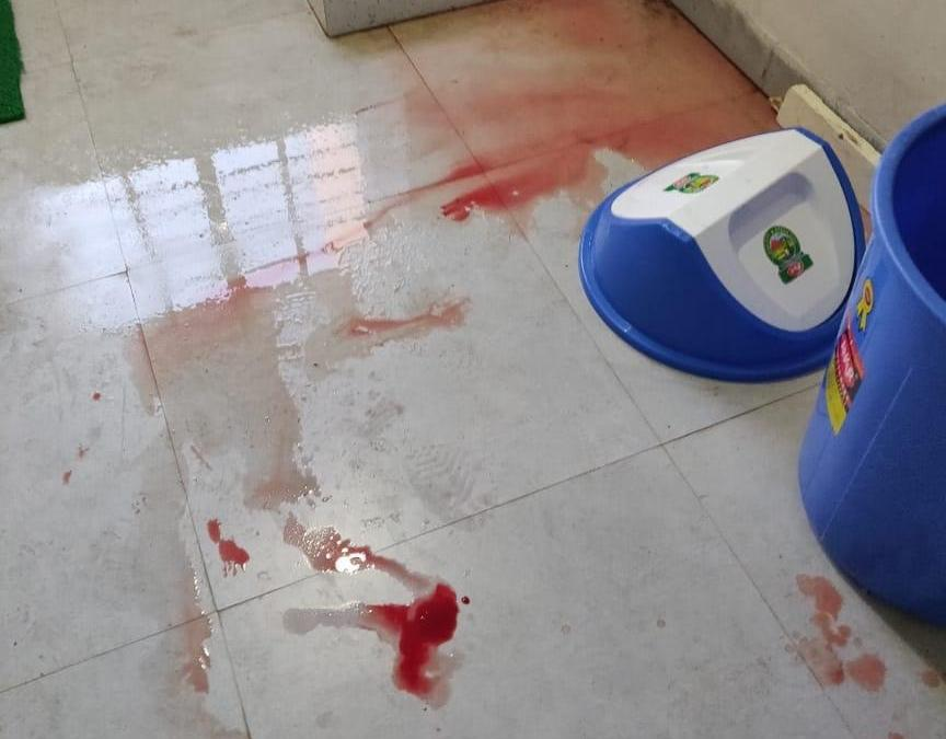 Picture in aftermath of KIIT campus bloodshed, yesterday