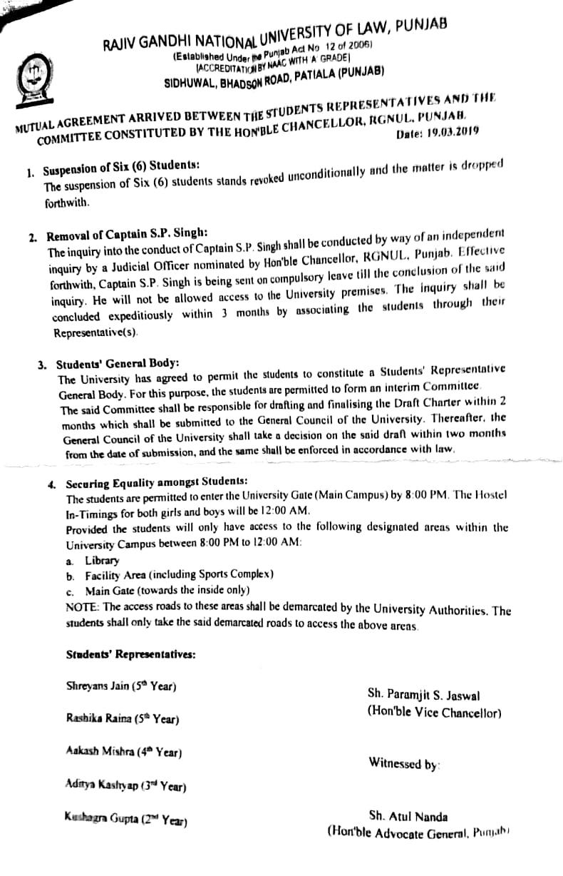 Peace agreement between RGNUL admin and students