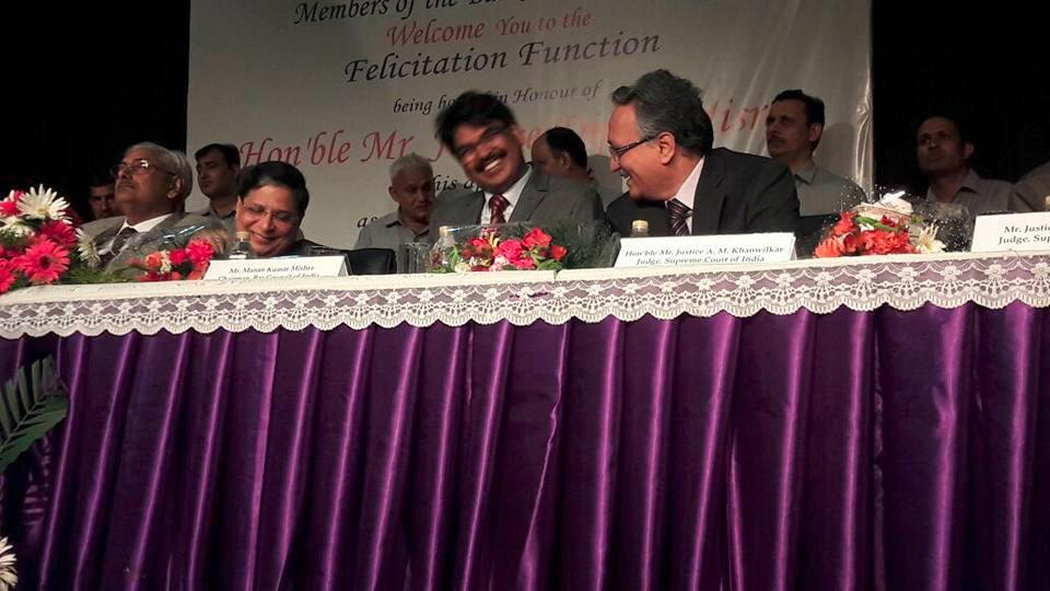 BCI chairman Manan Kumar Mishra at an ex-CJI's party in 2017 (via Facebook)