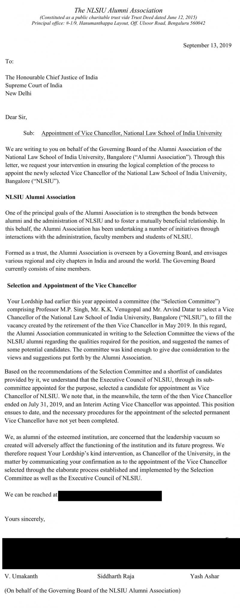 Letter by NLSIU alum association