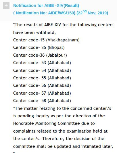 Notification of complaints at 9 centres