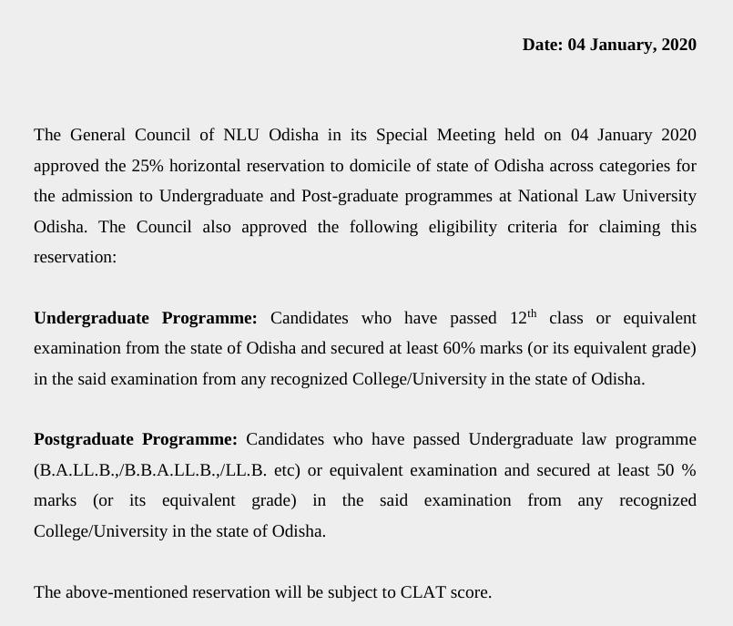 NLU Odisha also goes horizontal reservations way