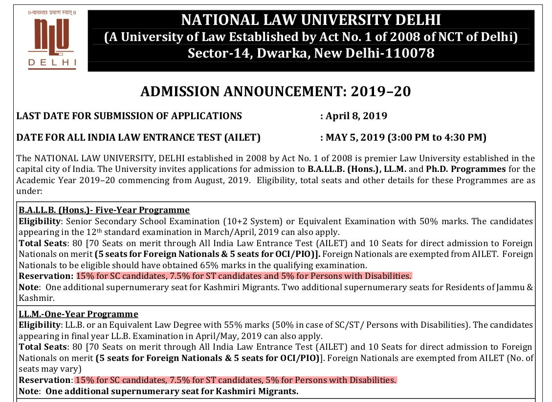 In 2019, NLU Delhi had no state reservation