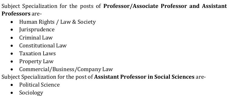 Law specialisations of new wanted profs: HR, law society, jurisprudence, crim, consti, property, commercial