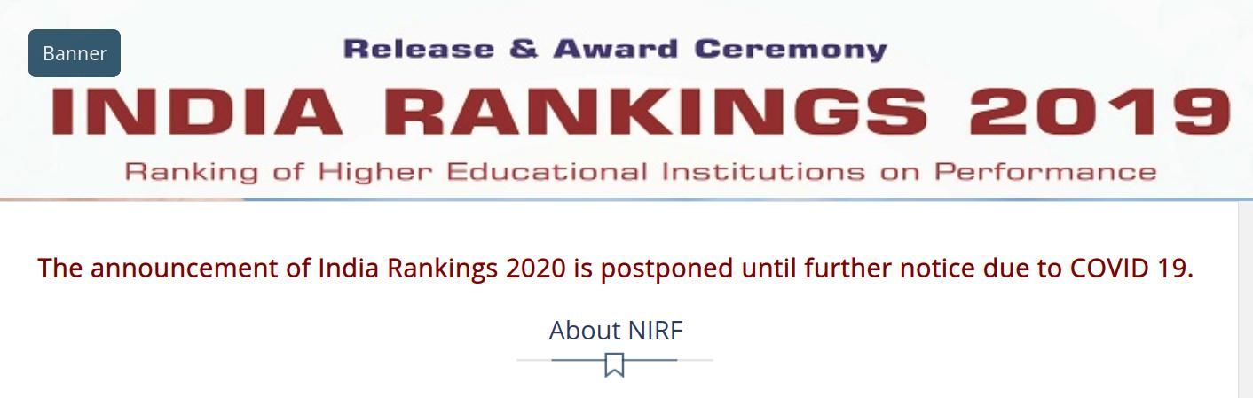 NIRF 2020 announcement ceremony postponed