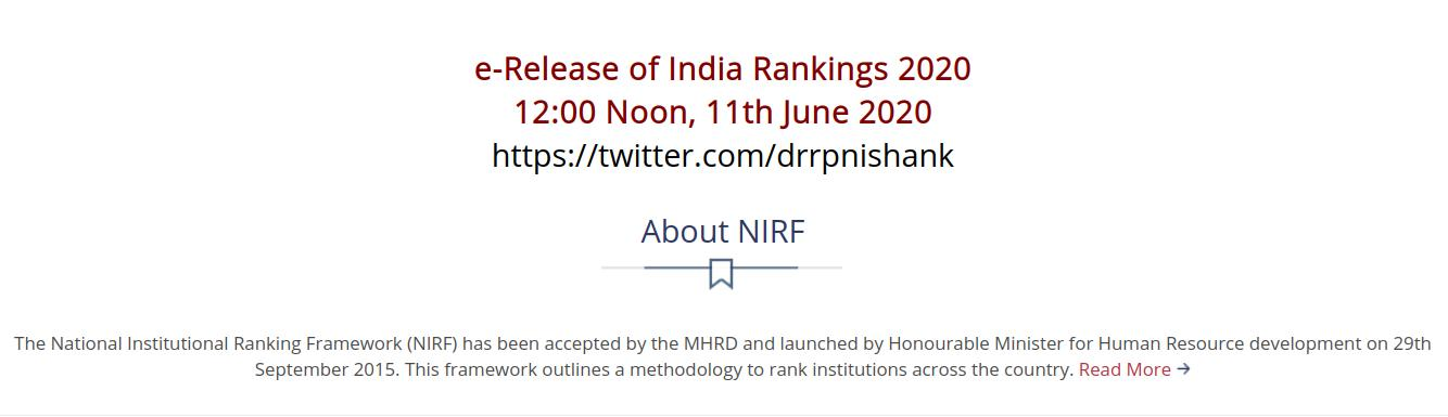 NIRF day tomorrow