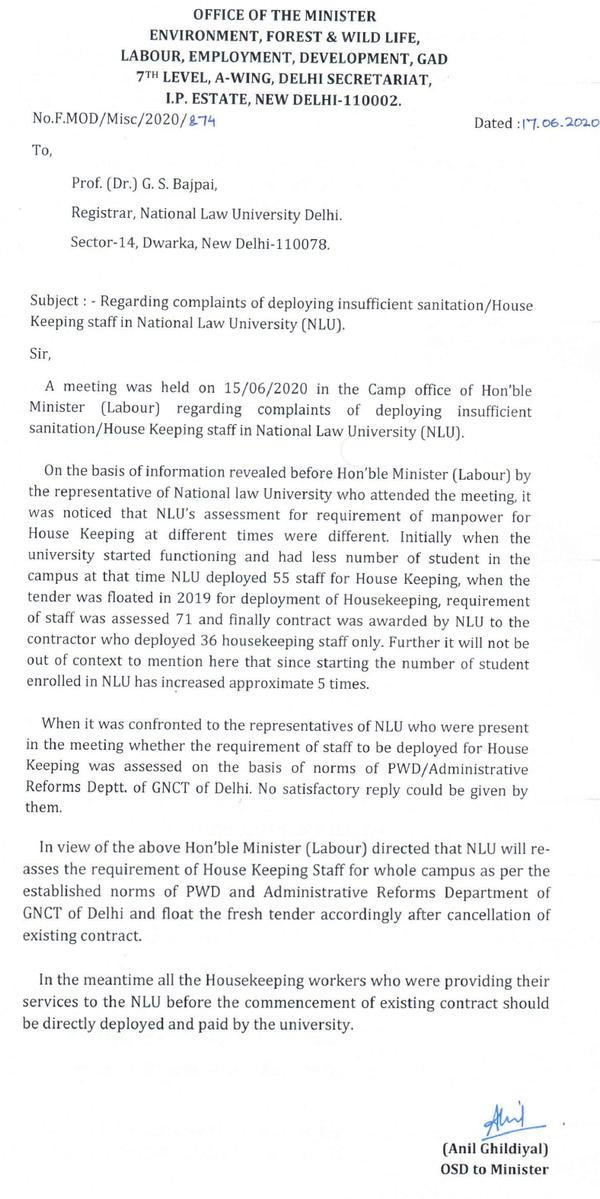 NLU Delhi students win victory against hostile administration to safeguard jobs of cleaning staff