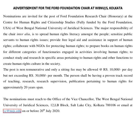 Advertisement for Ford Foundation Research Chair at NUJS