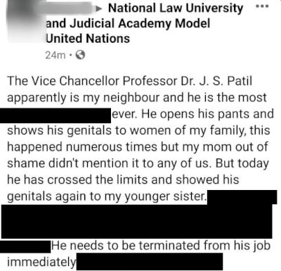 Redacted allegations in one of the Facebook posts made by a neighbour against the VC