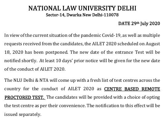 NLU Delhi goes for centre based remote proctored test