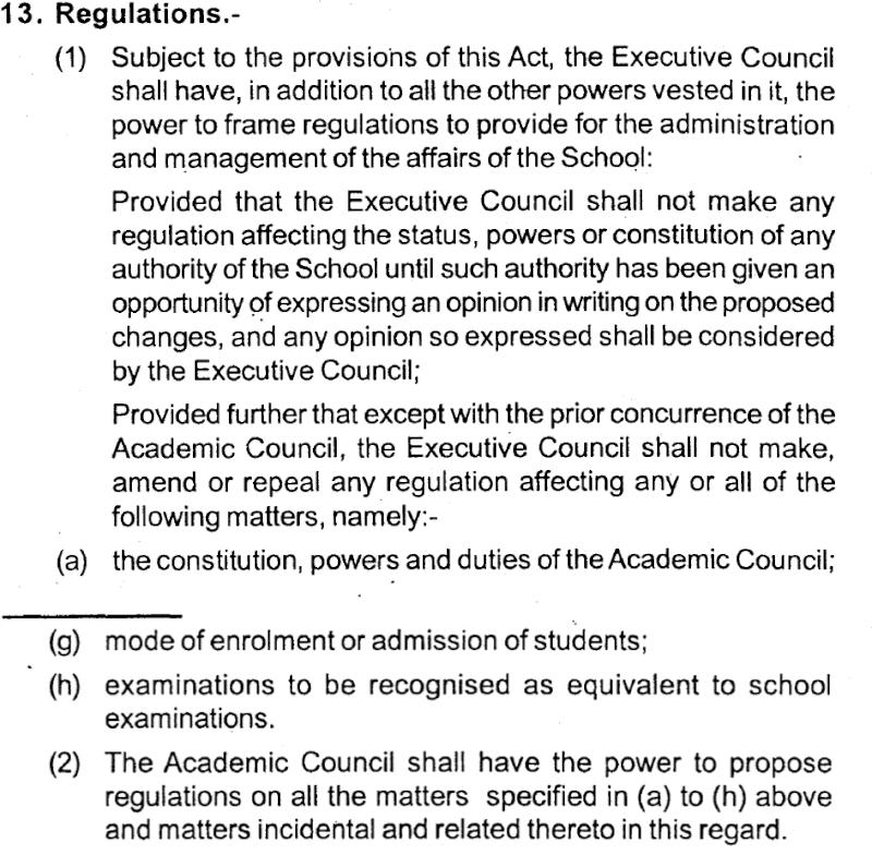 The NLS Act spells out fairly explicitly that the AC, not the EC, is responsible for admissions tests