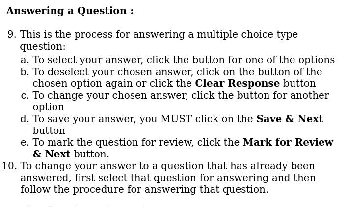 The instructions how to change answers