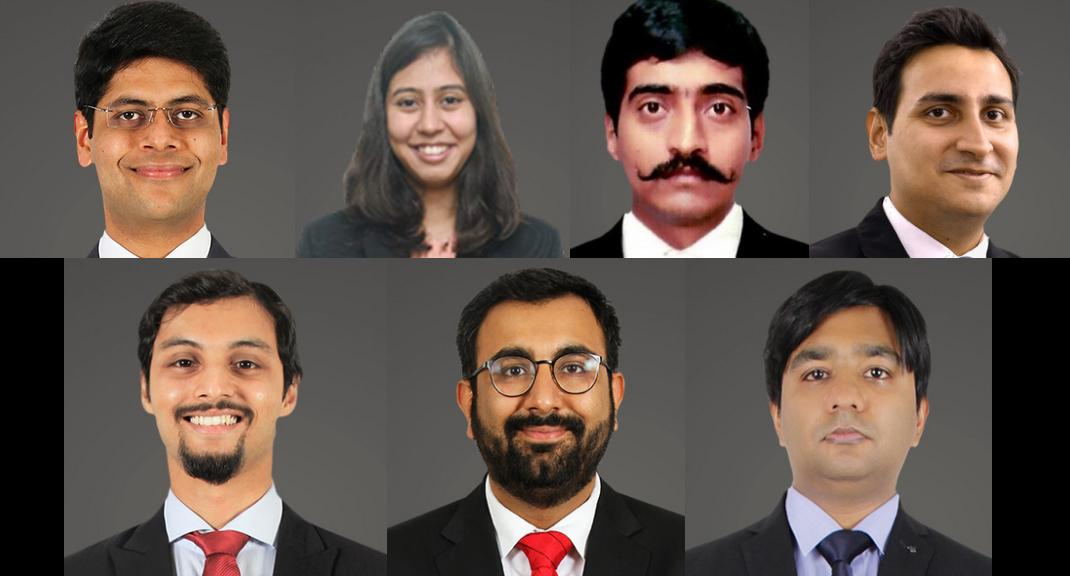 New JSA partners: Arora, Banerjee, Bhattacharya, Desai, Kartikeya GS, Kinra, Saluja (l to r, top to bottom)