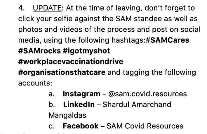 From SAM To All email of 12 May
