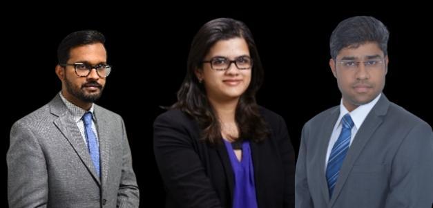 Three new partners at Juris Corp (Sinha, Kanvinde, Sharma, l. to r.)